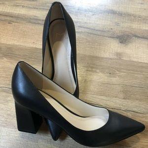 Marc Fisher LTD Black Leather Heels, Block Heel